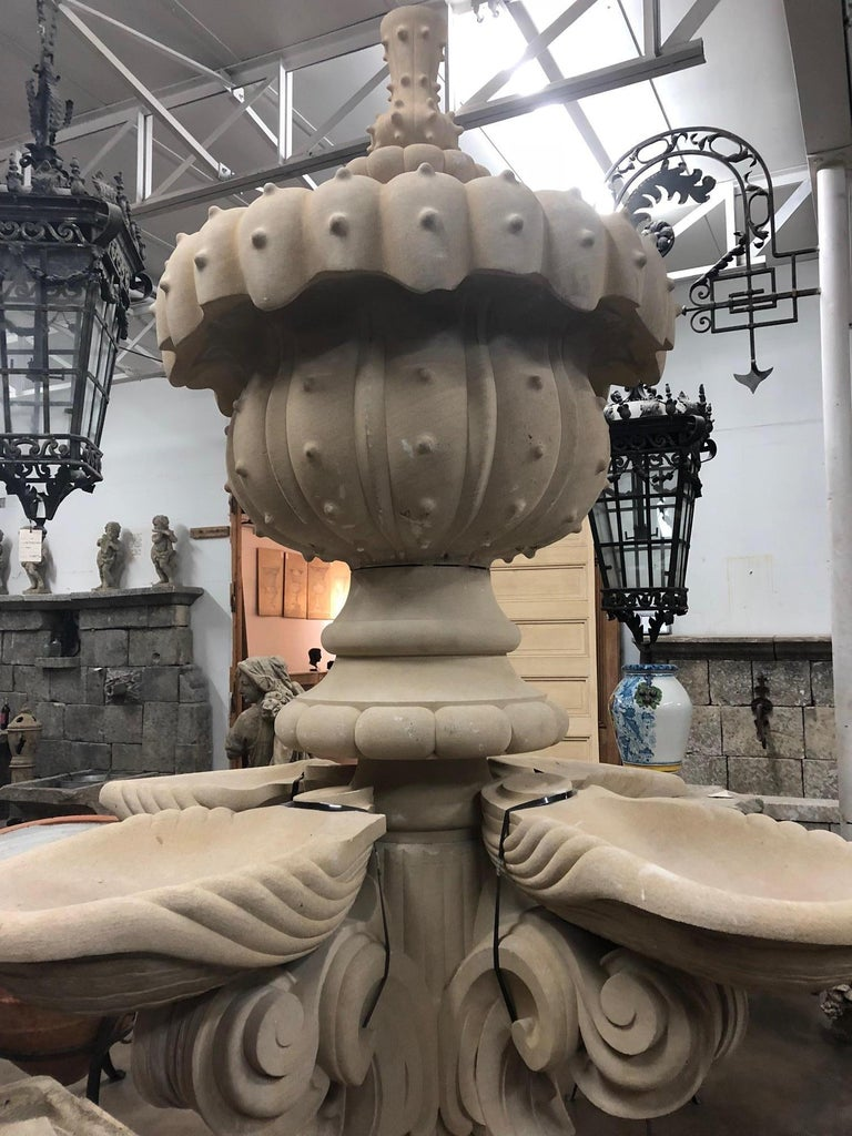This extraordinary piece was hand-carved in Austin, TX, this cream colored, limestone fountain would be a stunning addition to your landscape.