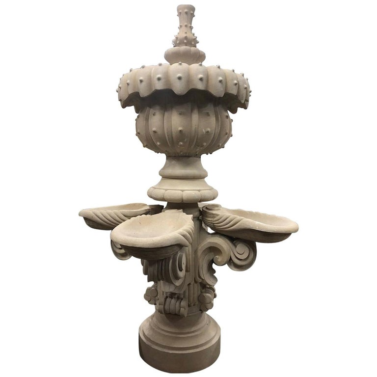 Contemporary, Hand-Carved, Limestone Central Fountain For Sale