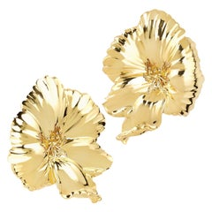 """Rosior Contemporary Hand Chiseled in Yellow Gold """"Flower"""" Earrings"""