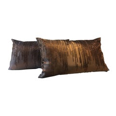Contemporary Hand Embroidered Cushions with Copper Beading on Repp Silk Bi-Color