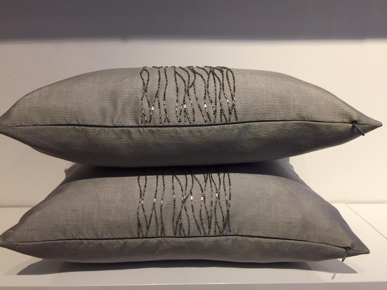 German Contemporary Hand Embroidered Cushions with Silver Beading on Silver-Grey Silk For Sale