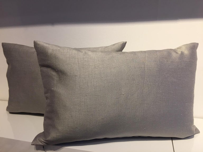 Contemporary Hand Embroidered Cushions with Silver Beading on Silver-Grey Silk For Sale 1