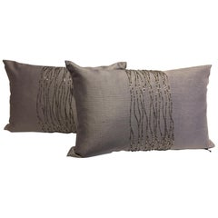 Contemporary Hand Embroidered Cushions with Silver Beading on Silver-Grey Silk