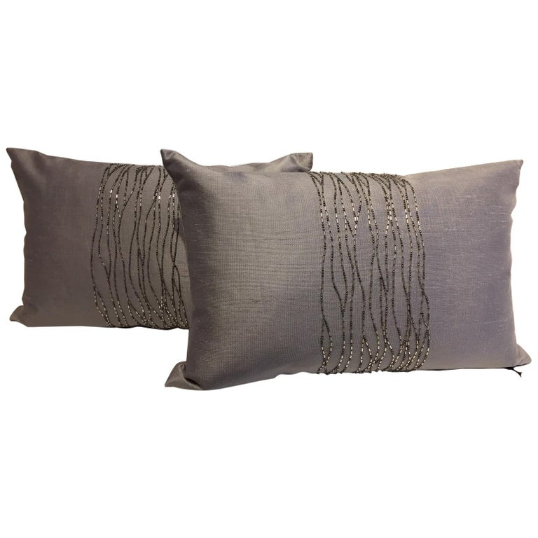 Contemporary Hand Embroidered Cushions with Silver Beading on Silver-Grey Silk For Sale
