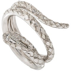 """Contemporary Hand Engraved """"Serpent"""" Ring in White Gold and Diamonds"""