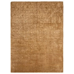 Contemporary Hand Knotted Cordoba Beige and Brown Wool and Silk Rug