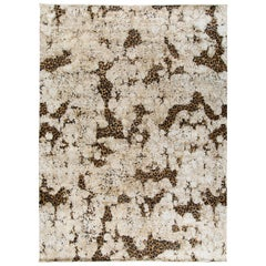 Contemporary Leopard Wool and Silk Hand-Knotted Rug in Brown, Creme and Black