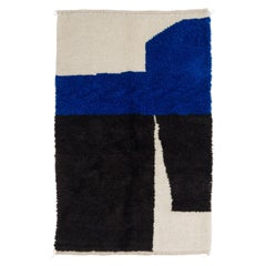 4.2x6.4 Ft Moroccan Wool Rug in Blue, Black and Cream. Custom Options Available