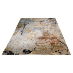 Contemporary Hand Knotted Rug in Bamboo Silk, Wool and Viscose