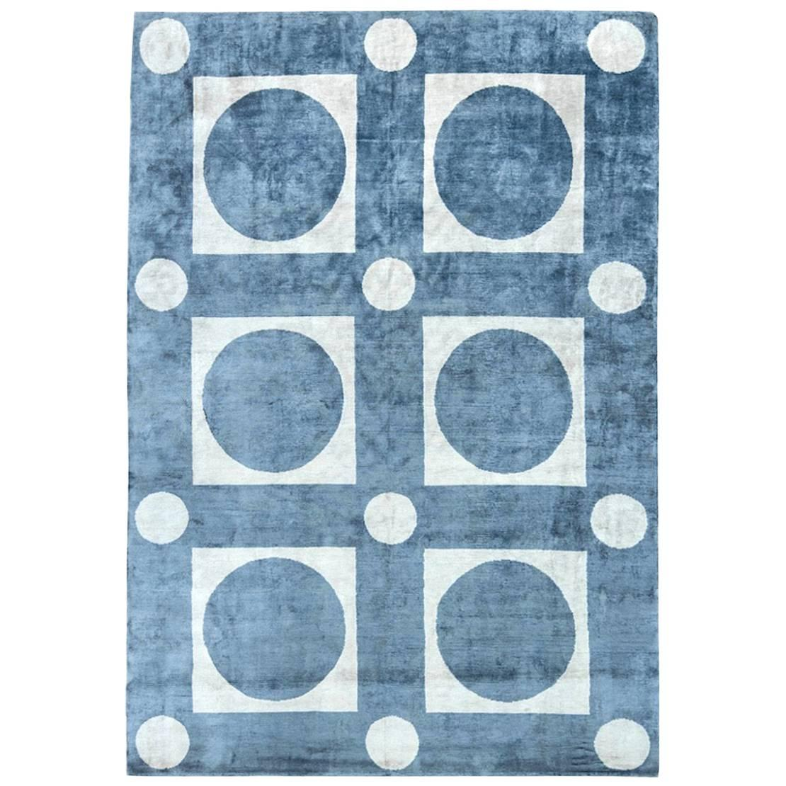 Contemporary Hand-Knotted Silk Tibetan-Inspired Area Rug