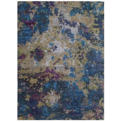 Postmodern, Hand Knotted, Wool Silk, Abstract Rug, Organic,  Blue, Green, Purple