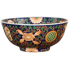 Contemporary Hand Painted Chinese Floral Decor Bowl with Cobalt Blue Ground