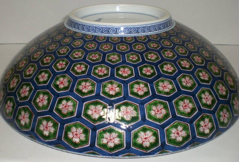 Large Japanese Porcelain Centerpiece Green Blue by Master Artist (1931-2009) In Excellent Condition For Sale In Vancouver, CA