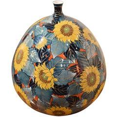 Hand-Painted Japanese Porcelain Vase by Fujii Katsuma