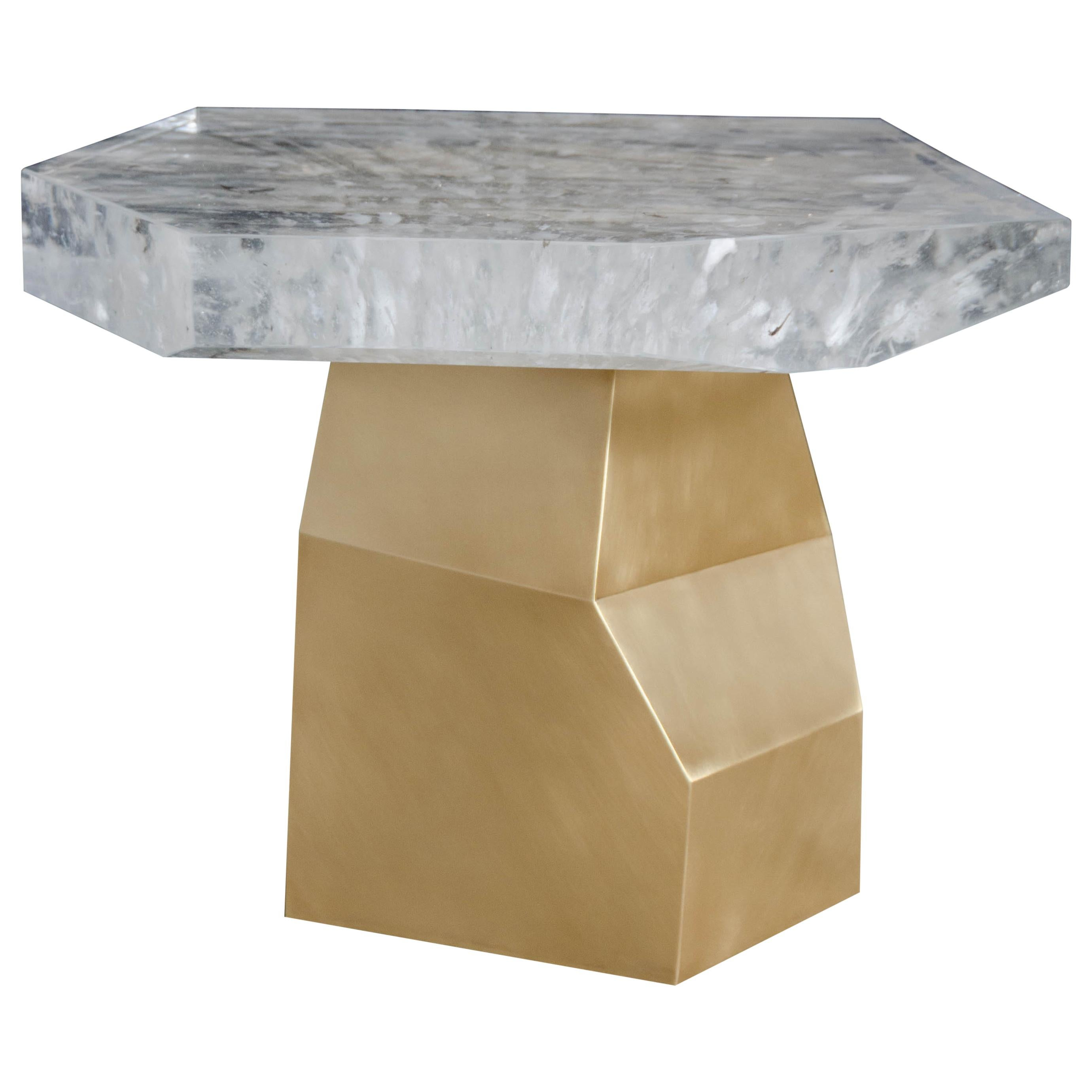 Contemporary Hand Repousse Brass Facet Side Table by Robert Kuo