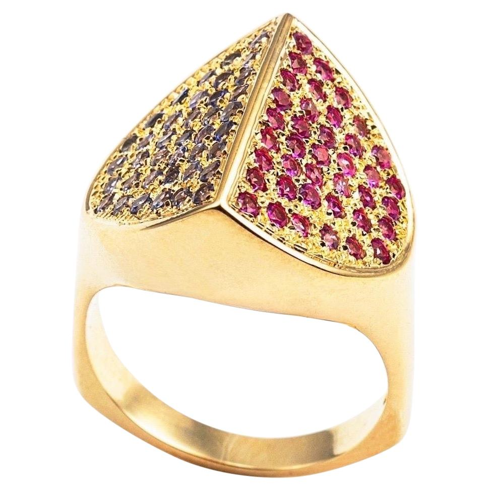 Contemporary Hand Sculpted 18K Gold, Pink Sapphire & Tanzanite Cocktail Ring