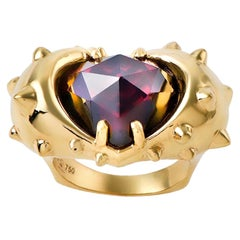 Contemporary Hand Sculpted 18K Yellow Gold and Rose Cut Red Garnet Heart Ring