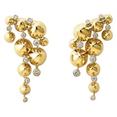 Contemporary, Hand Sculpted, 18K Yellow Gold and White Diamond Dangle Earrings