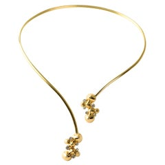 Contemporary, Hand Sculpted 18K Yellow Gold and White Diamond Flexible Necklace