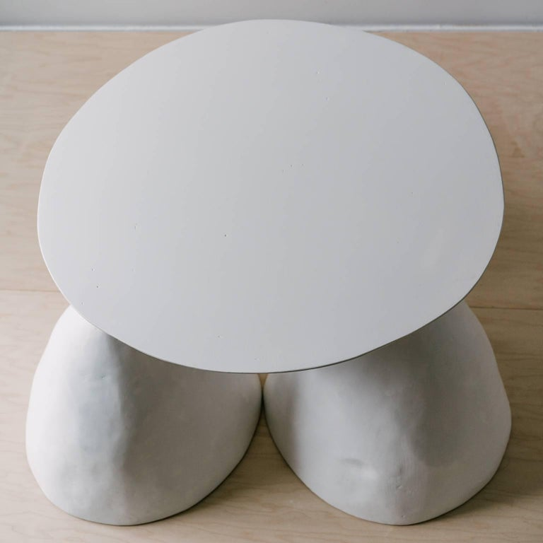 Contemporary Hand-Sculpted Plaster Twyla-03 Occasional Table with Three Legs In New Condition For Sale In Portland, OR