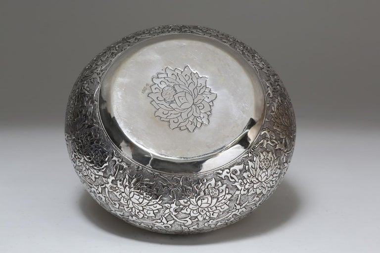 Hand-Crafted Contemporary Hand-Worked Solid Silver Bowl, Lotus Motif, Centerpiece For Sale