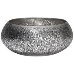 Contemporary Hand-Worked Solid Silver Bowl, Lotus Motif, Centerpiece
