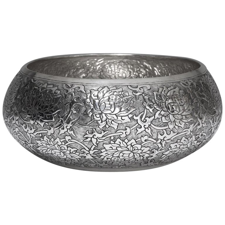 Contemporary Hand-Worked Solid Silver Bowl, Lotus Motif, Centerpiece For Sale