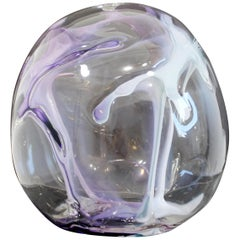 Contemporary Handblown Glass Art Orb Table Sculpture Signed Peter Bramhall, 1990