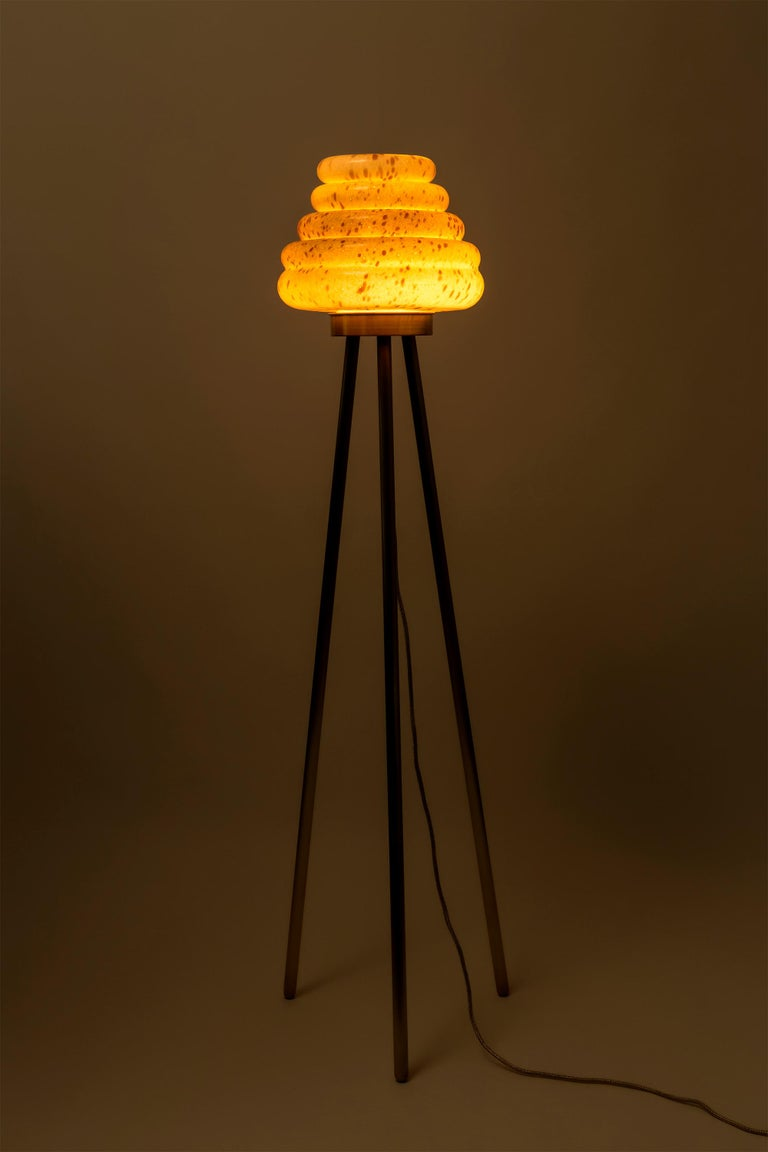 Contemporary Handblown Glass Colmena Floor Lamp With Brass Legs