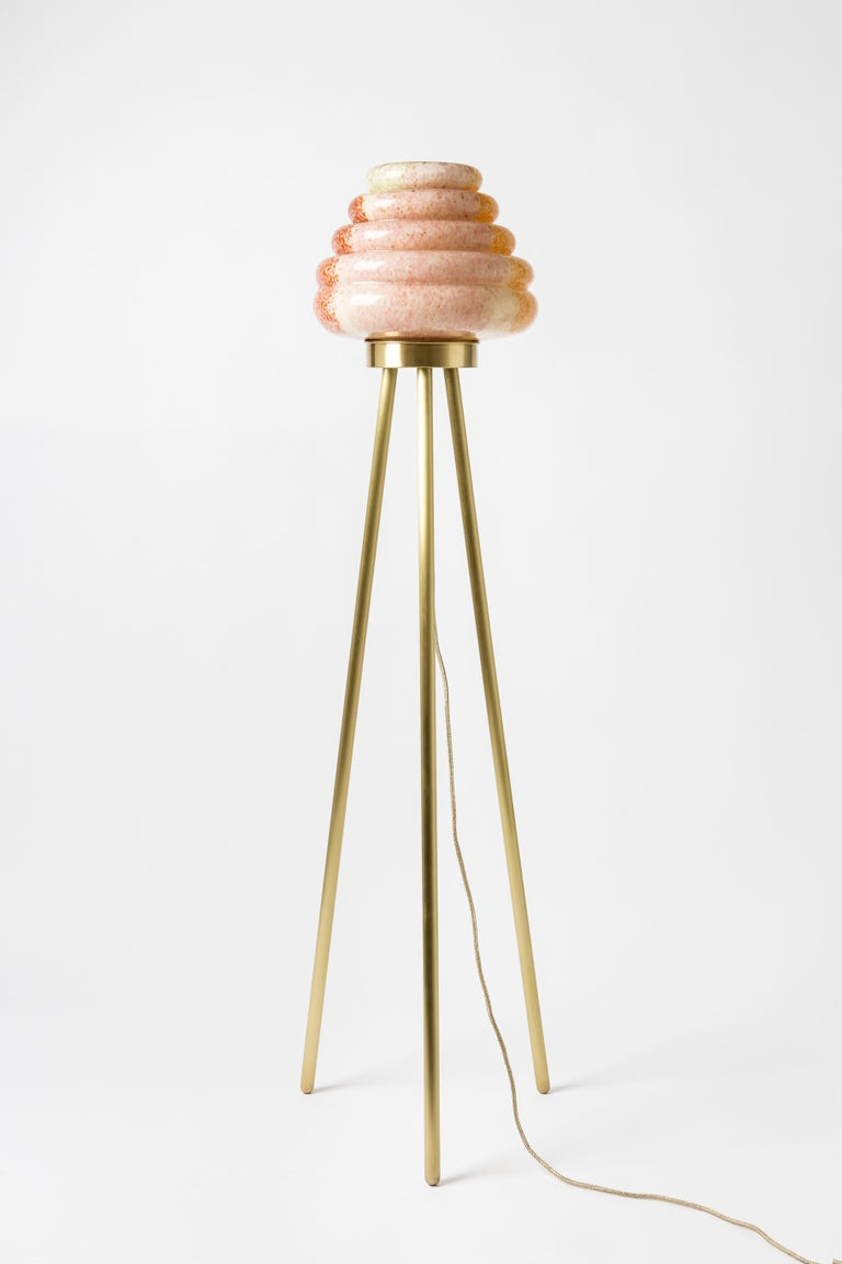 Turkish Contemporary Handblown Glass Colmena Floor Lamp with Brass Legs For Sale