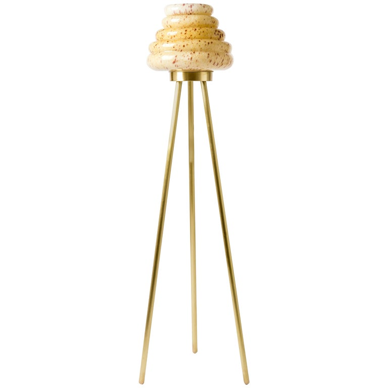 Contemporary Handblown Glass Colmena Floor Lamp with Brass Legs For Sale