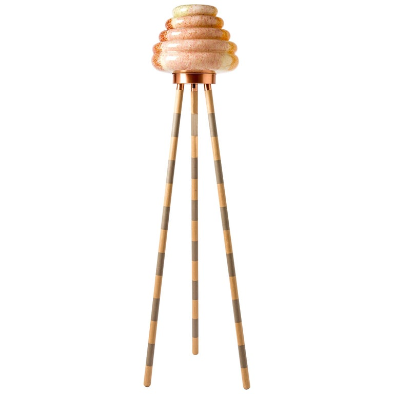 Contemporary Handblown Glass Colmena Floor Lamp with Wooden Legs For Sale