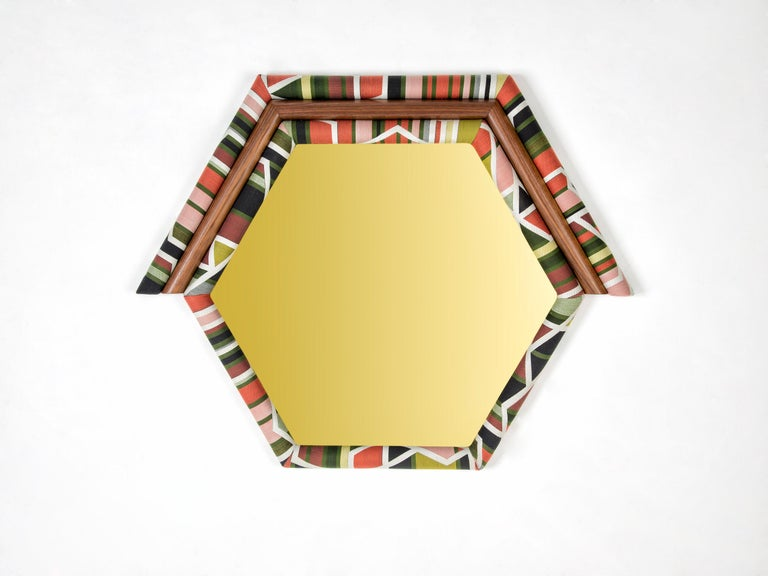 Arts and Crafts Contemporary Handcrafted American White Oak Yellow Pontiac Hexagon Mirror For Sale