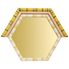 Contemporary Handcrafted American White Oak Yellow Pontiac Hexagon Mirror