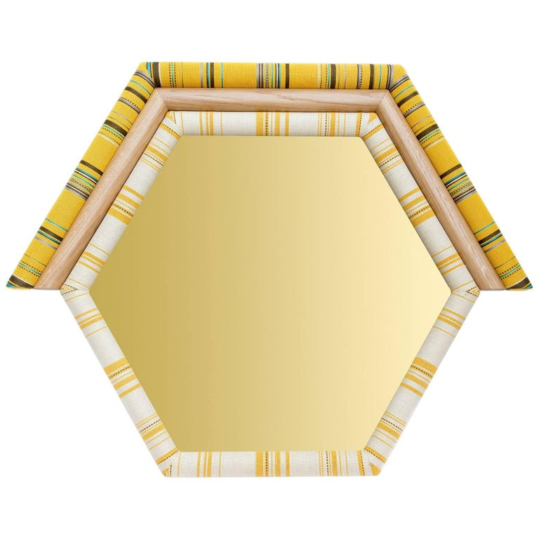 Contemporary Handcrafted American White Oak Yellow Pontiac Hexagon Mirror For Sale