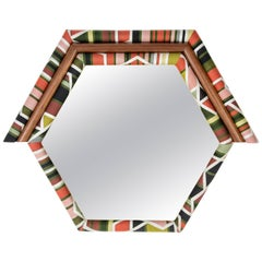 Contemporary Handcrafted and Upholstered American Walnut Pontiac Hexagon Mirror