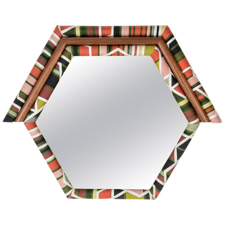 Contemporary Handcrafted and Upholstered American Walnut Pontiac Hexagon Mirror For Sale