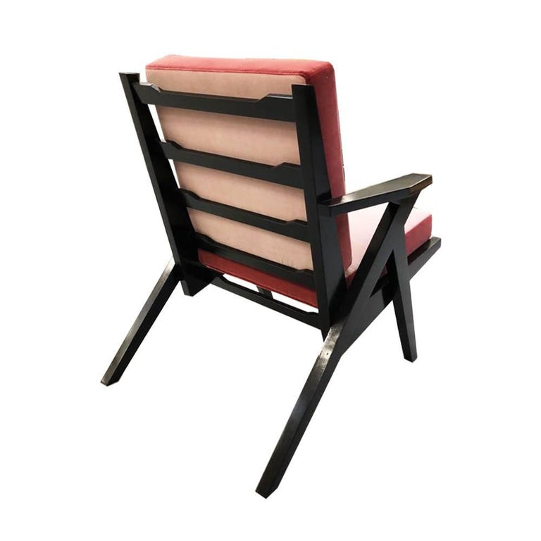 Italian Contemporary Handcrafted Armchair in Wood and Piped Velvet Upholstery For Sale