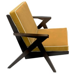 Contemporary Armchair in Wooden Structure and Yellow Velvet Finish