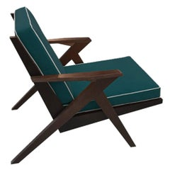 Contemporary Armchair in Wooden Structure and Green Velvet Finish