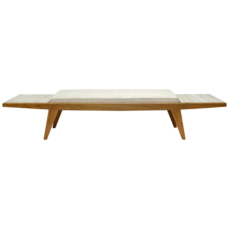"""Contemporary Handcrafted Bench """"Aenos"""" in Wood and Marble Base by Anaktae For Sale"""
