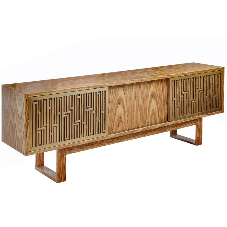 "Contemporary Handcrafted Buffet ""Esthesia"" in Wood with Decorative Brass Screens For Sale"