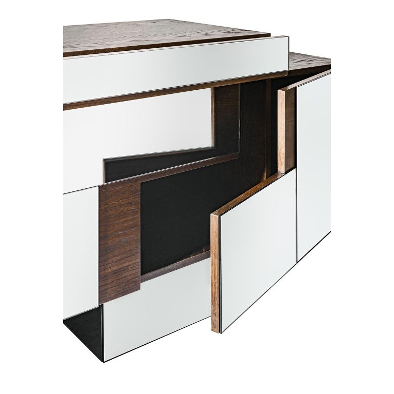 Modern Contemporary Handcrafted Buffet with Geometric Mirrored Doors, 1stdibs New York For Sale