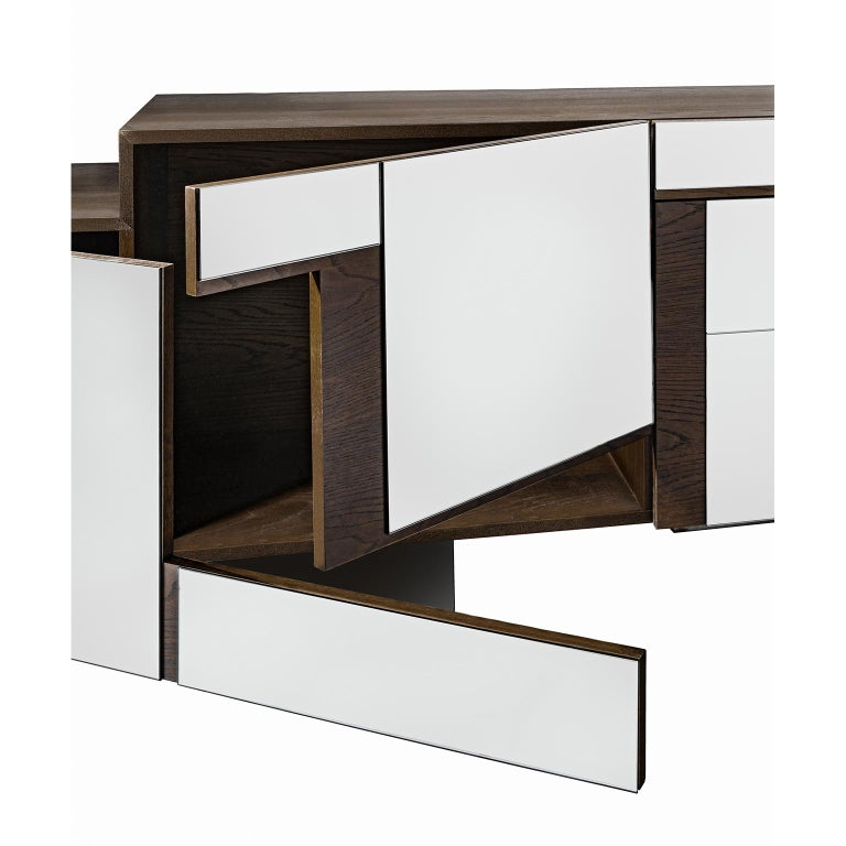 Greek Contemporary Handcrafted Buffet with Geometric Mirrored Doors, 1stdibs New York For Sale