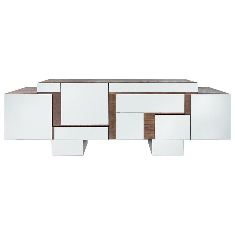 Contemporary Handcrafted Buffet with Geometric Mirrored Doors, 1stdibs New York For Sale