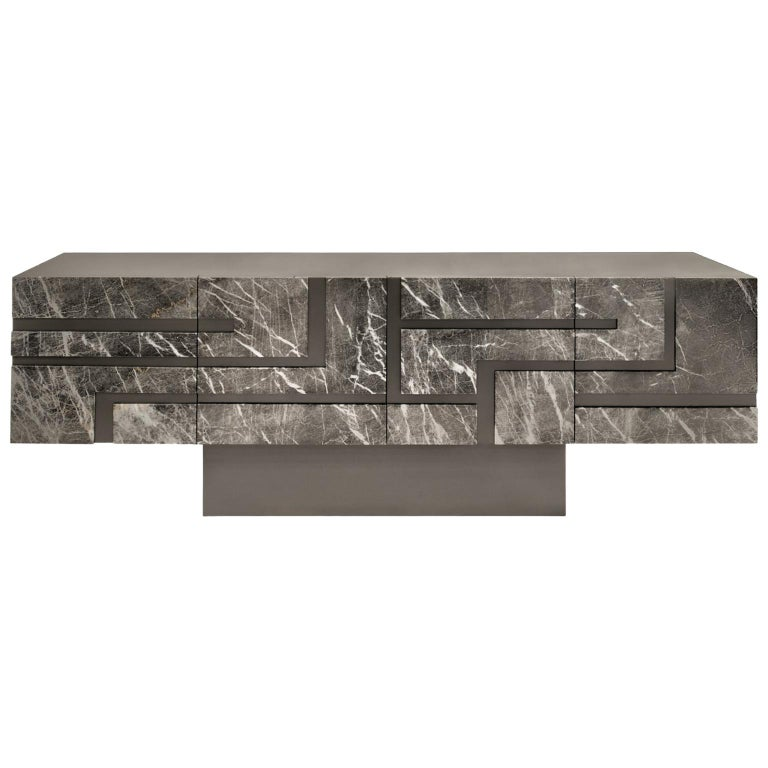"""Contemporary Handcrafted Buffet """"Phaethon"""" with Geometric Marble Facade For Sale"""