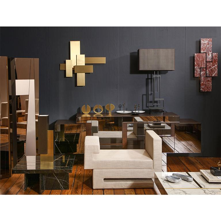 Contemporary Handcrafted Buffet with Geometric Mirrored Doors, 1stdibs New York In New Condition For Sale In Athens, GR