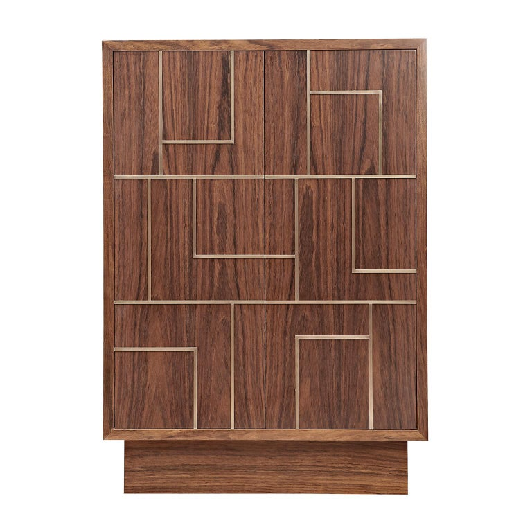 """Contemporary Handcrafted Cabinet """"Egeria"""" in Wood with Brass Linear Pattern For Sale"""