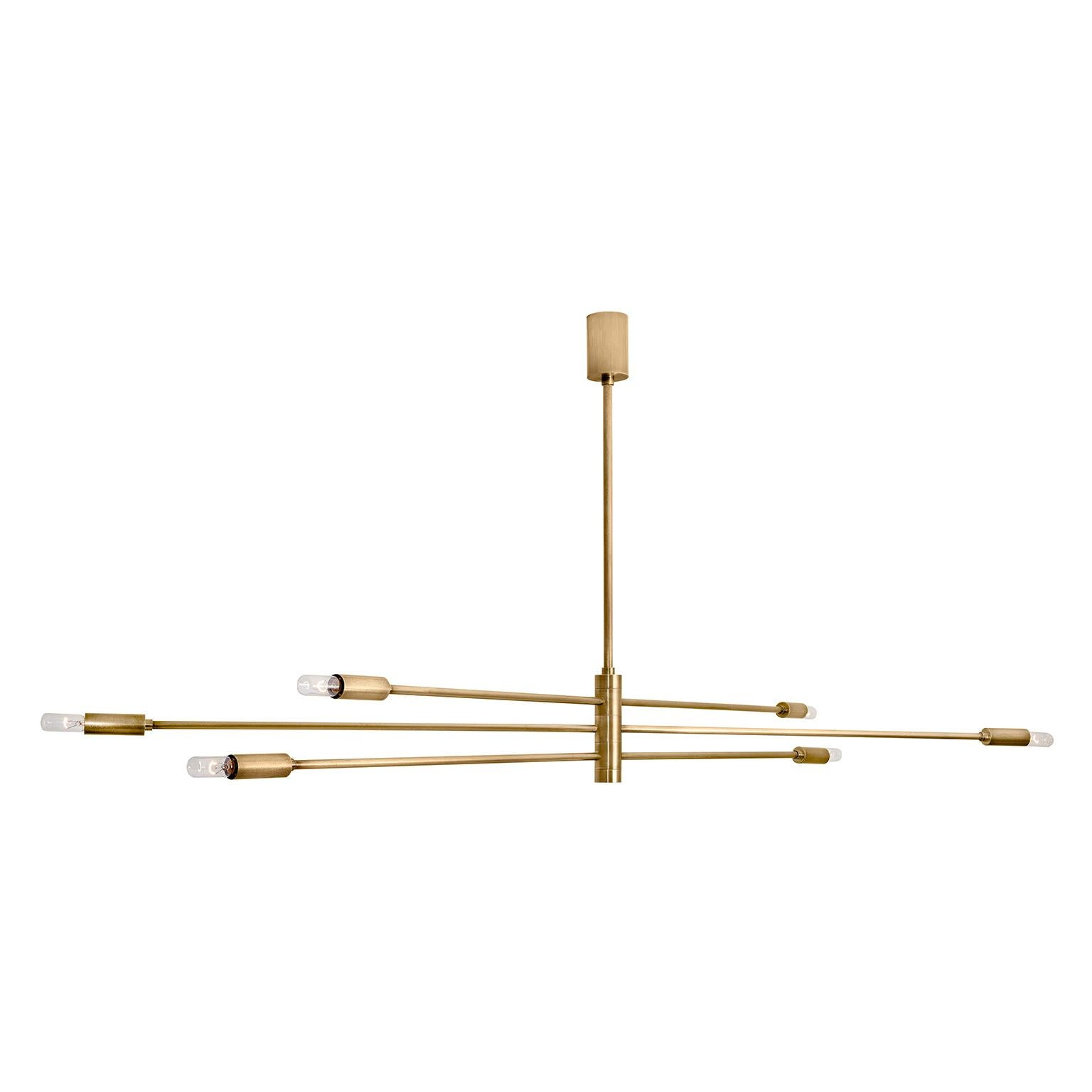 """Contemporary Handcrafted Ceiling Lamp """"Potamoi"""" with Brass Arms by Anaktae"""