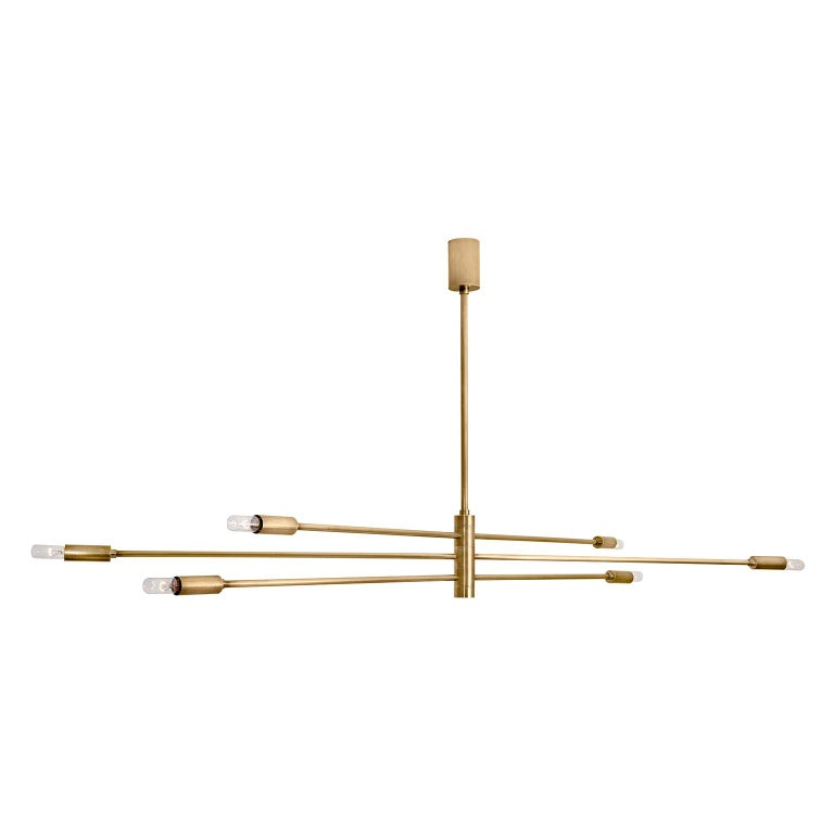 """Contemporary Handcrafted Ceiling Lamp """"Potamoi"""" with Brass Arms by Anaktae For Sale"""